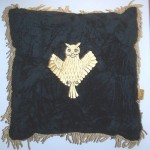 Embroidered Gold Owl Cushion