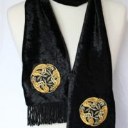 Celtic Embroidered Velvet Scarf – Hounds