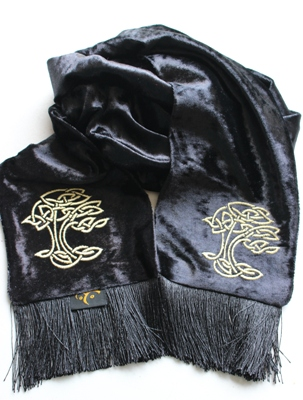 Celtic Embroidered Scarf – Tree of Life