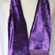 Celtic Embroidered Velvet Scarf – Tree of Life Purple