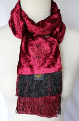 Embroidered Velvet Scarf – Owl