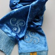 Celtic Embroidered Velvet Scarf – Triskele